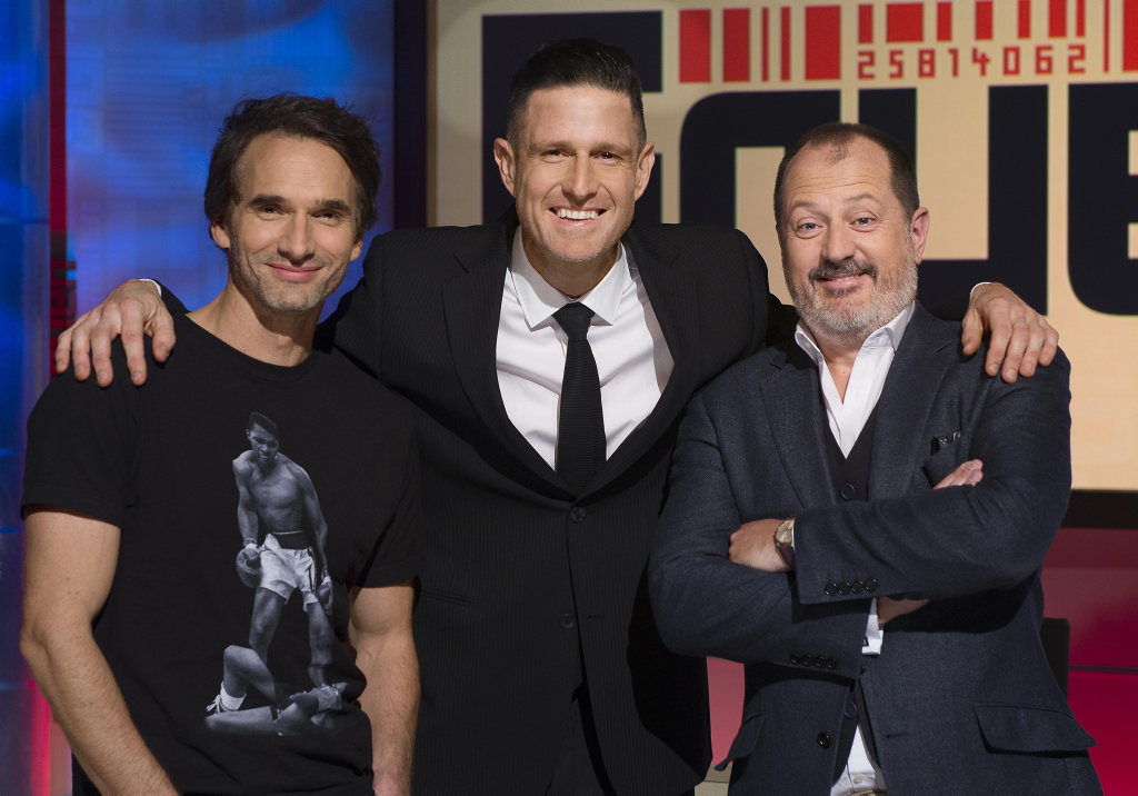 Gruen host Wil Anderson, centre, with panelists Todd Sampson and Russel Howcroft.