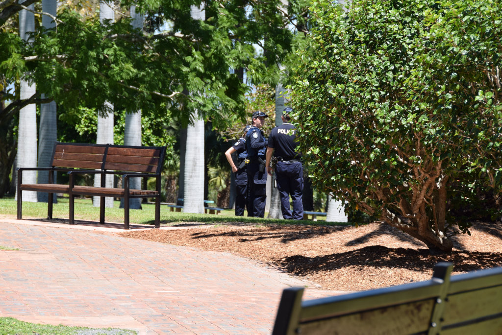 Police search for suspects after a stolen car was found near the Rockhampton Botanic Gardens.