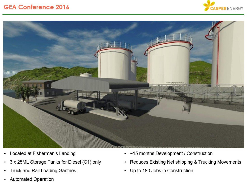 An artist's impression of the diesel import terminal at Fisherman's Landing.