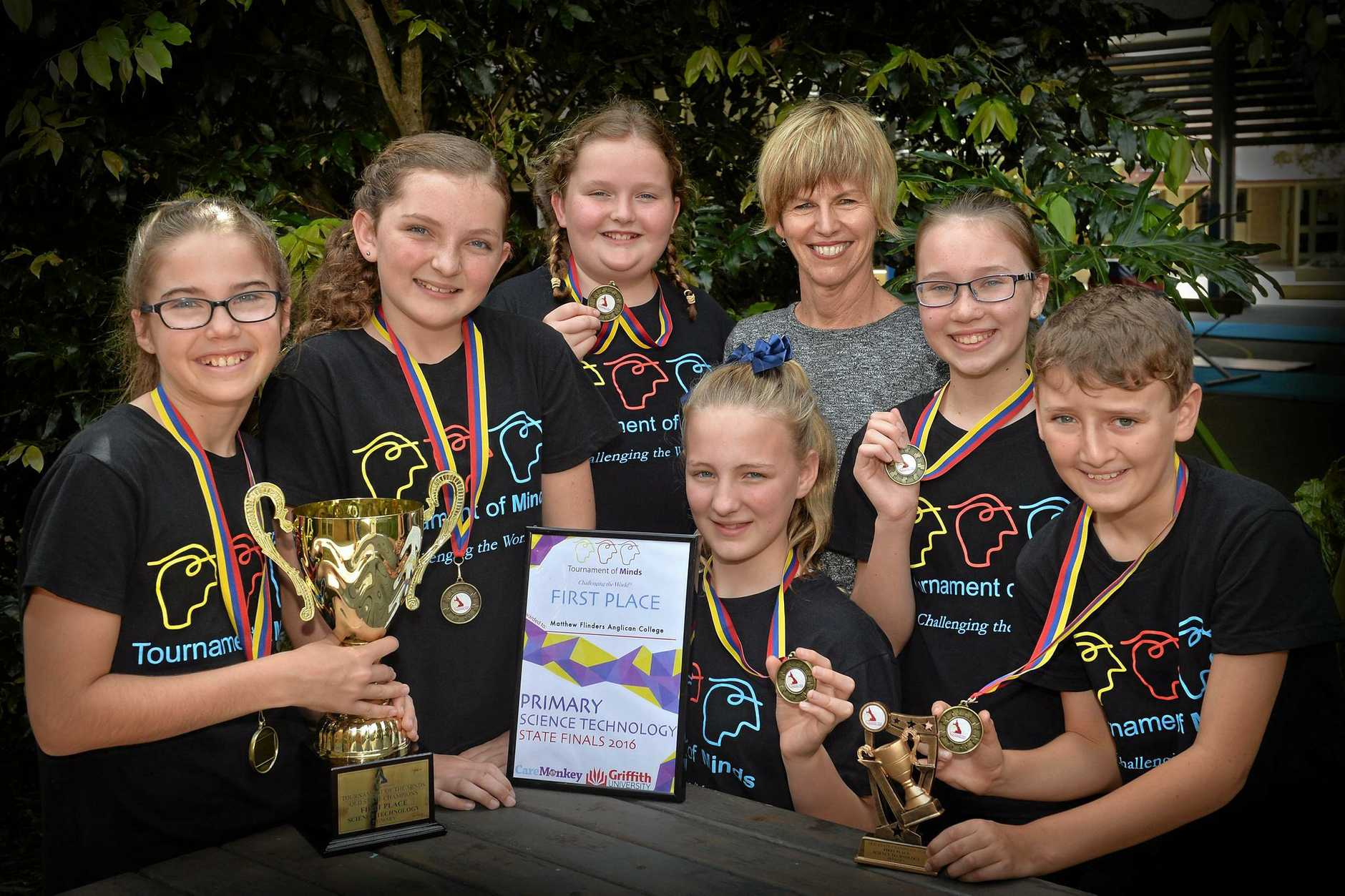 WINNERS ARE GRINNERS: The Matthew Flinders Anglican College team won their category in the state finals of the Tournament of Minds.