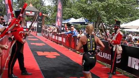Finishers of Ironman 70.3 Ballarat get a nostalgic welcome at the finish.