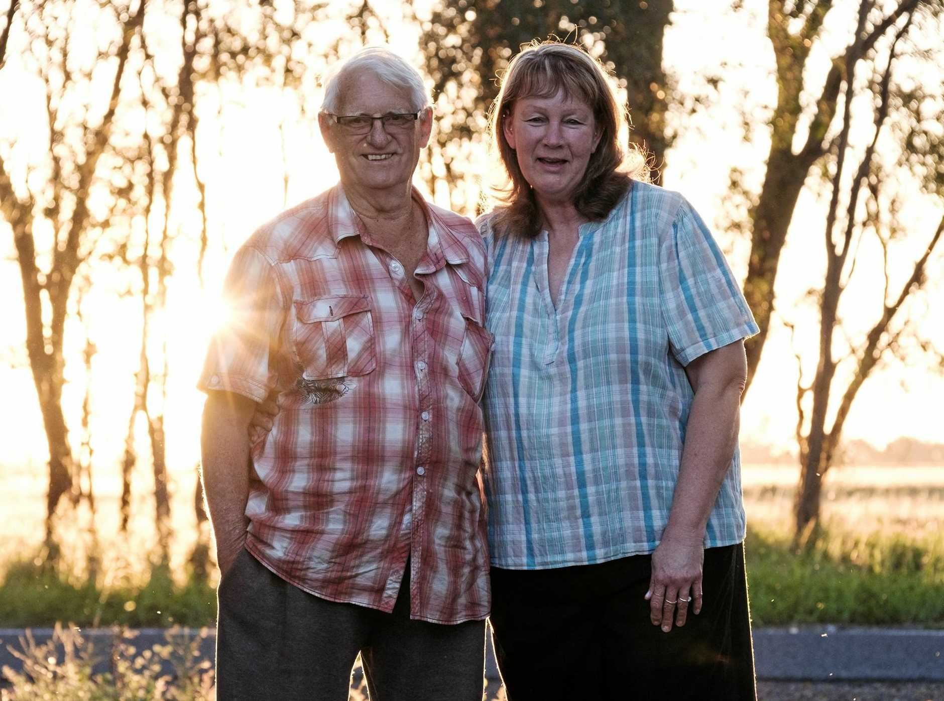 ACTION STATIONS: Mike and Jenny Tuohy on their property at Hopeland, which sits north of the Linc Energy site and within the Department of Environment and Heritage Protection's Excavation Caution Zone.