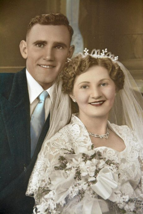 WEDDING BELLS: Clive and Elvie Dascombe were married on October 6, 1956 at the Crows Nest Methodist Church.