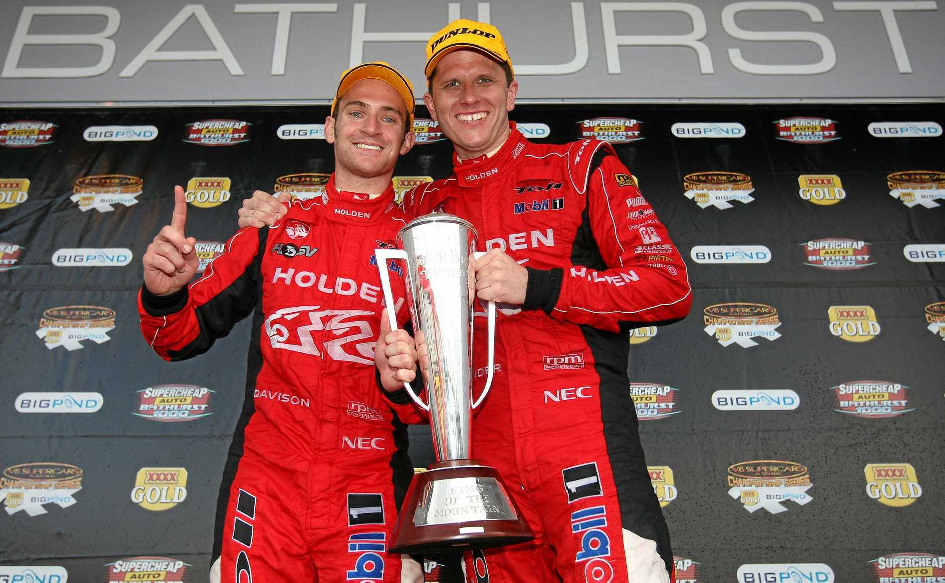 The Holden Racing Team of Garth Tander and Will Davison win the Supercheap Auto Bathurst 1000 at the Mount Panorama Circuit in 2009.