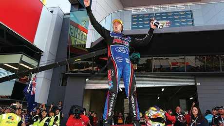 Mostert  celebrates after winning the Bathurst 1000 in 2014 in Bathurst.