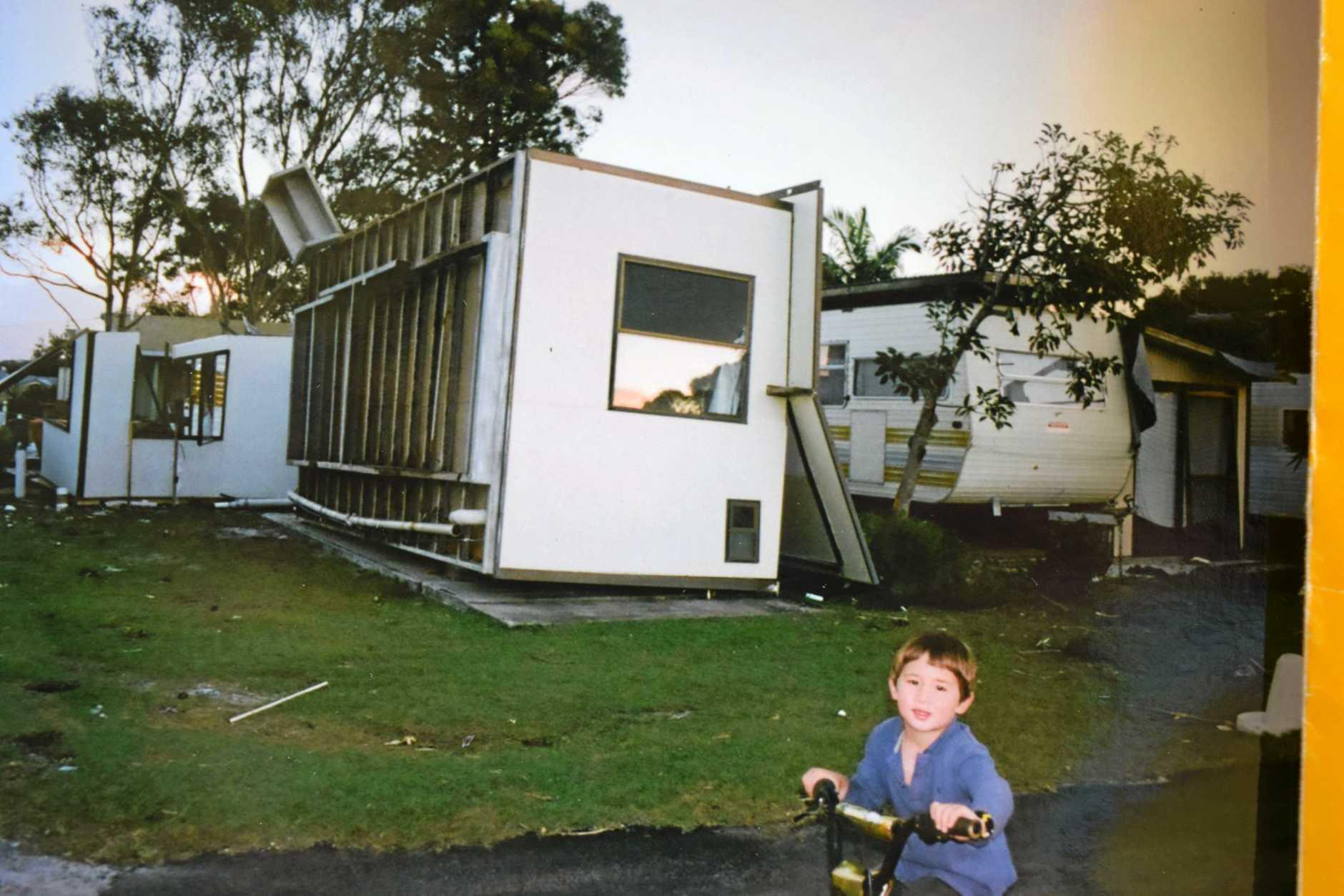 The 2010 tornado that  took out Struggle Street at the Lennox Head Caravan Park.