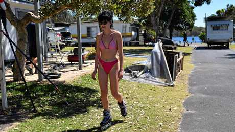 Some things never change. Honor Munro rollerskates for the last  time near her grandmother's long-term caravan.