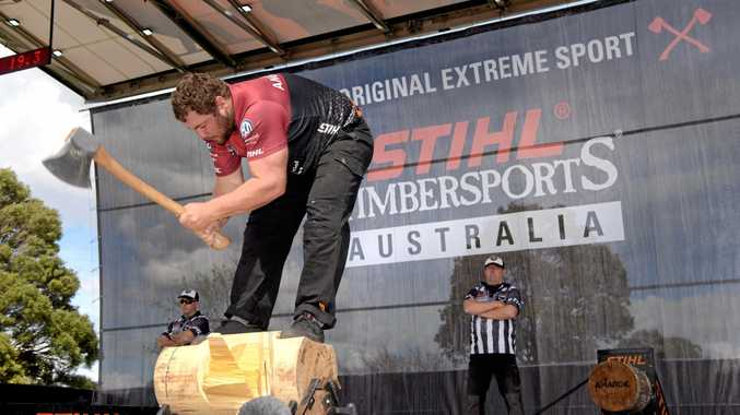 Blackbutt's Mitch Argent competing in this year's Timbersports championship.