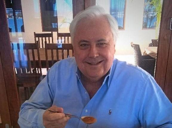 ON THE PATH: Clive Palmer's Facebook post of him tucking into some Lite N' Easy.