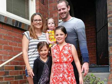 HAPPY FAMILY: Posing for a family photo are Hannah McLaren and her husband Dustyn with their children (from left) Josephine, Eliana and Laylah McLaren.