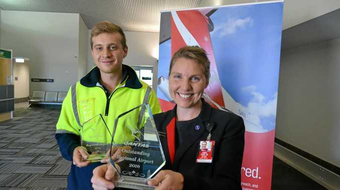 BEST IN AUSTRALIA: Roma Airport employees Eric Kutlak and Melissa Salmon hold the awards won by the airport in both 2014 and 2016.
