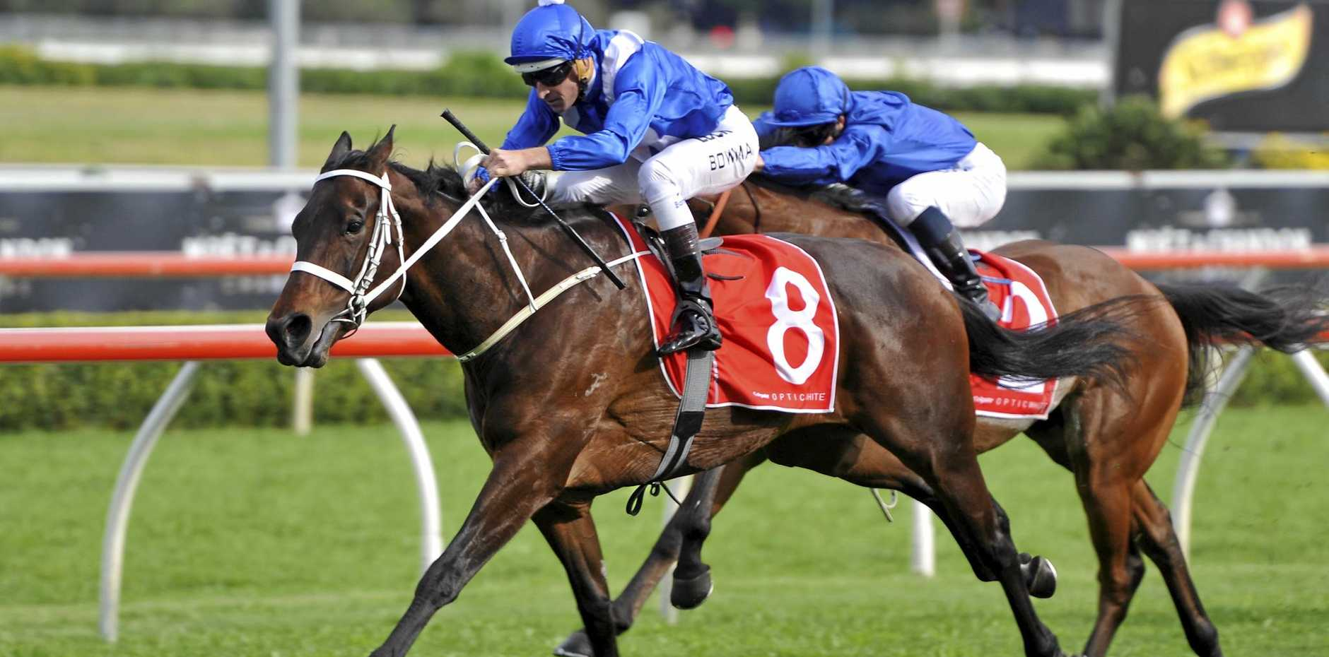 Champion mare Winx on the way to winning the Group 1 George Main Stakes at Randwick in September.