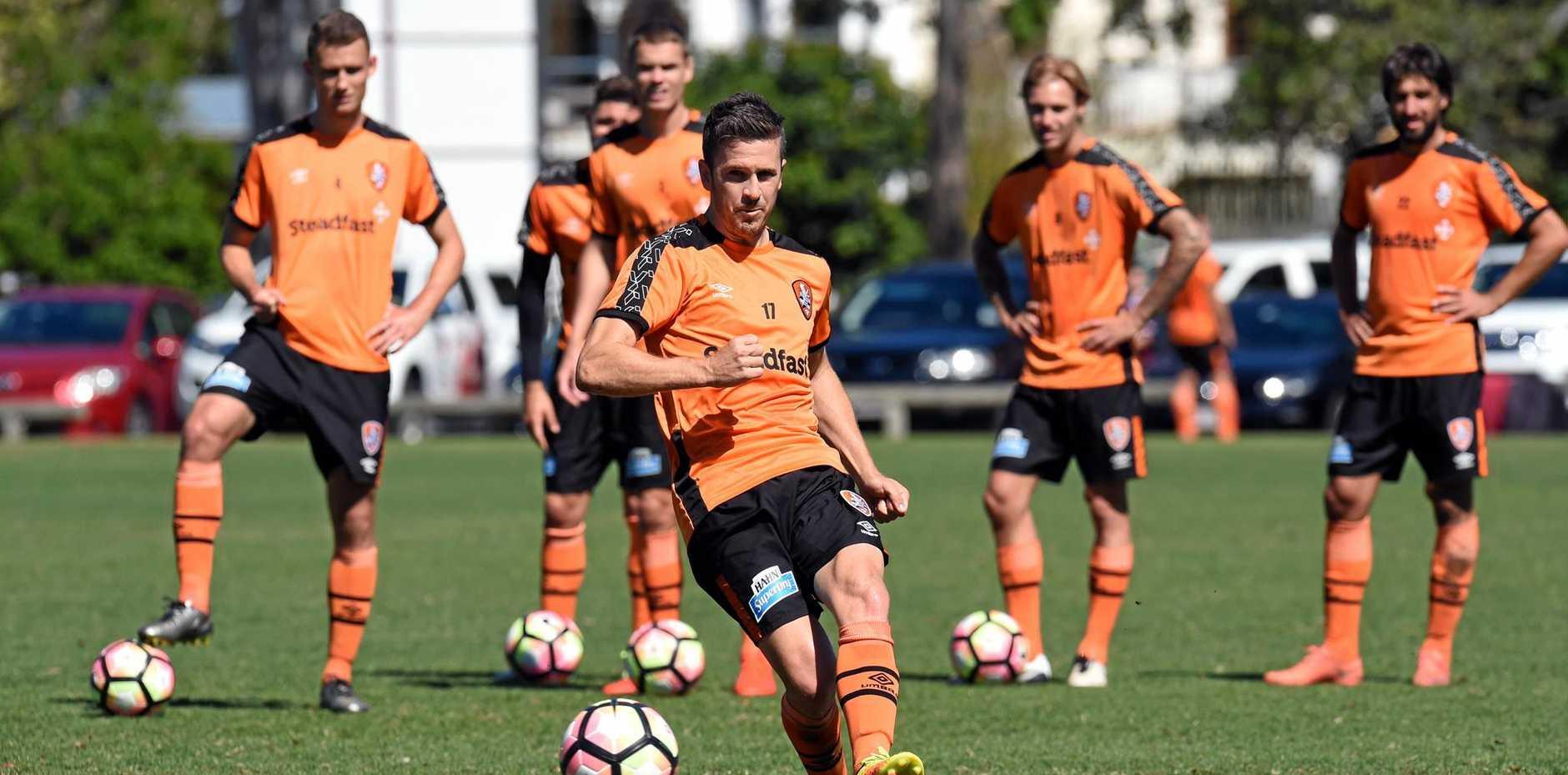 Roar captain Matt McKay during training in Brisbane.