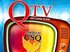 The QTV logo in conjunction with USQ. TV station QT.Television.