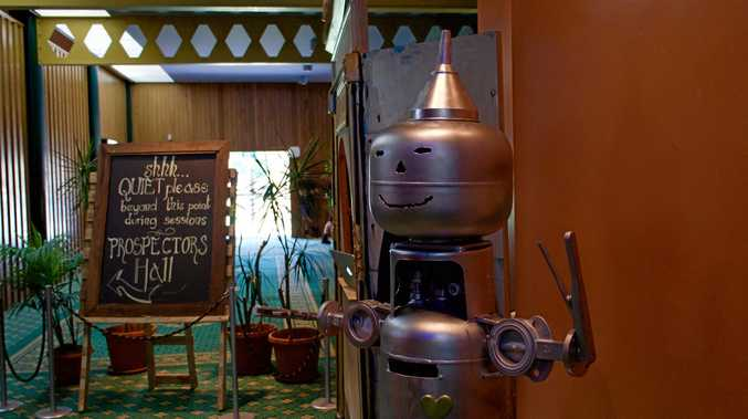 IF I ONLY HAD A HEART: The Tin Man guards the entrance to Prospector's Lounge at the Gympie Civic Centre.