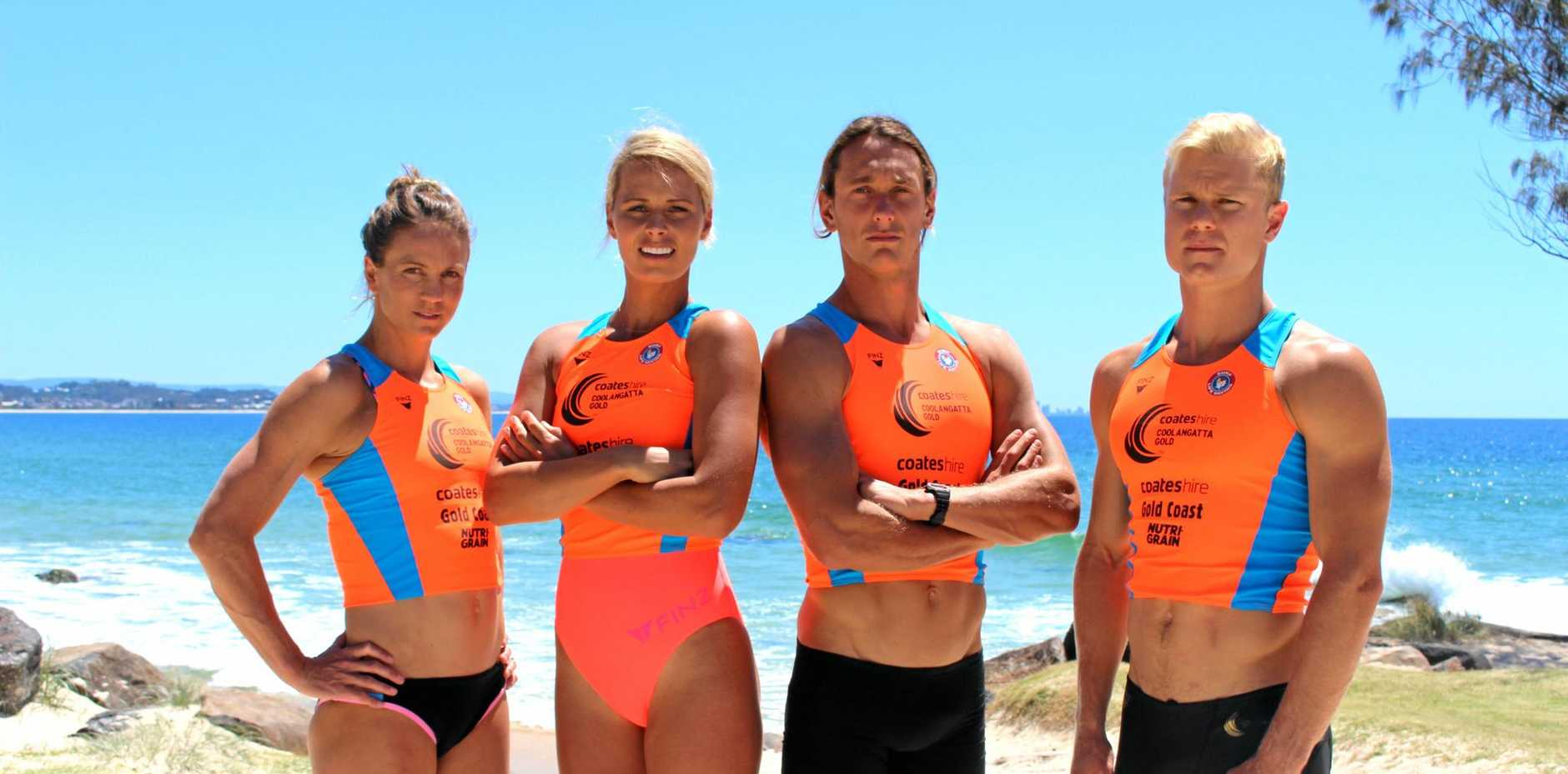 Ironwoman stars Rebecca Creedy and Courtney Hancock with ironman competitors Ali Day and Hayden White at the launch the 2016 Coolangatta Gold at Coolangatta on Thursday.