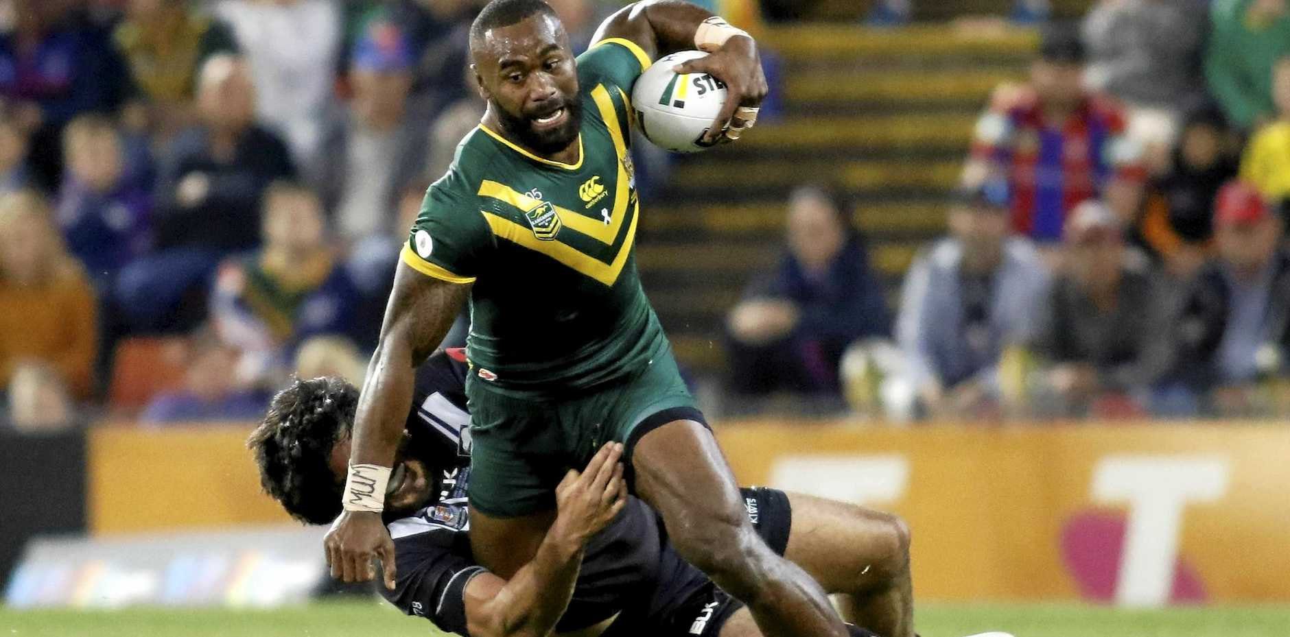Eels winger Semi Radradra in action for the Kangaroos against New Zealand in May.