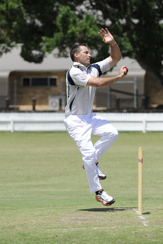 Coutts Adam Elliott bowling in the CRCA premier league cricket match at Ellem Oval on Saturday, 31st Januray, 2015. Photo Debrah Novak / The Daily Examiner