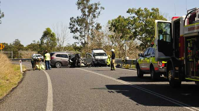Emergency services are on scene of a head-on car crash with 7 persons involved.
