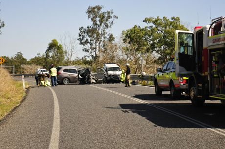 Three cars were involved in a crash on the Bruce Hwy at Mount Larcom this morning.