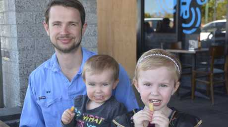 Nick Owen with Amelia, 1, and Aria, 3, Owen.