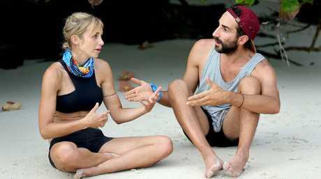 Jennah-Louise Salkeld talks to Nick Iadanza in a scene from Australian Survivor.