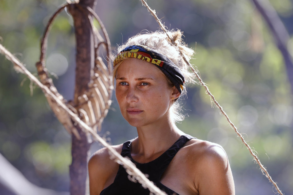 Jennah-Louise Salkeld pictured in a scene from Australian Survivor.