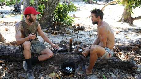 Sam Webb and Lee Carseldine in a scene from Australian Survivor.