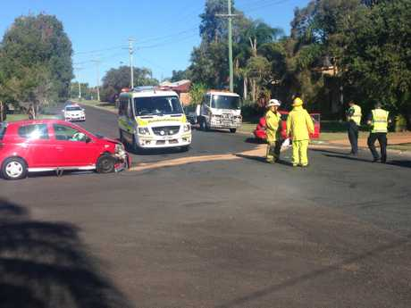 EMERGENCY: A mother and an infant have been taken to hospital after a crash in Urangan.