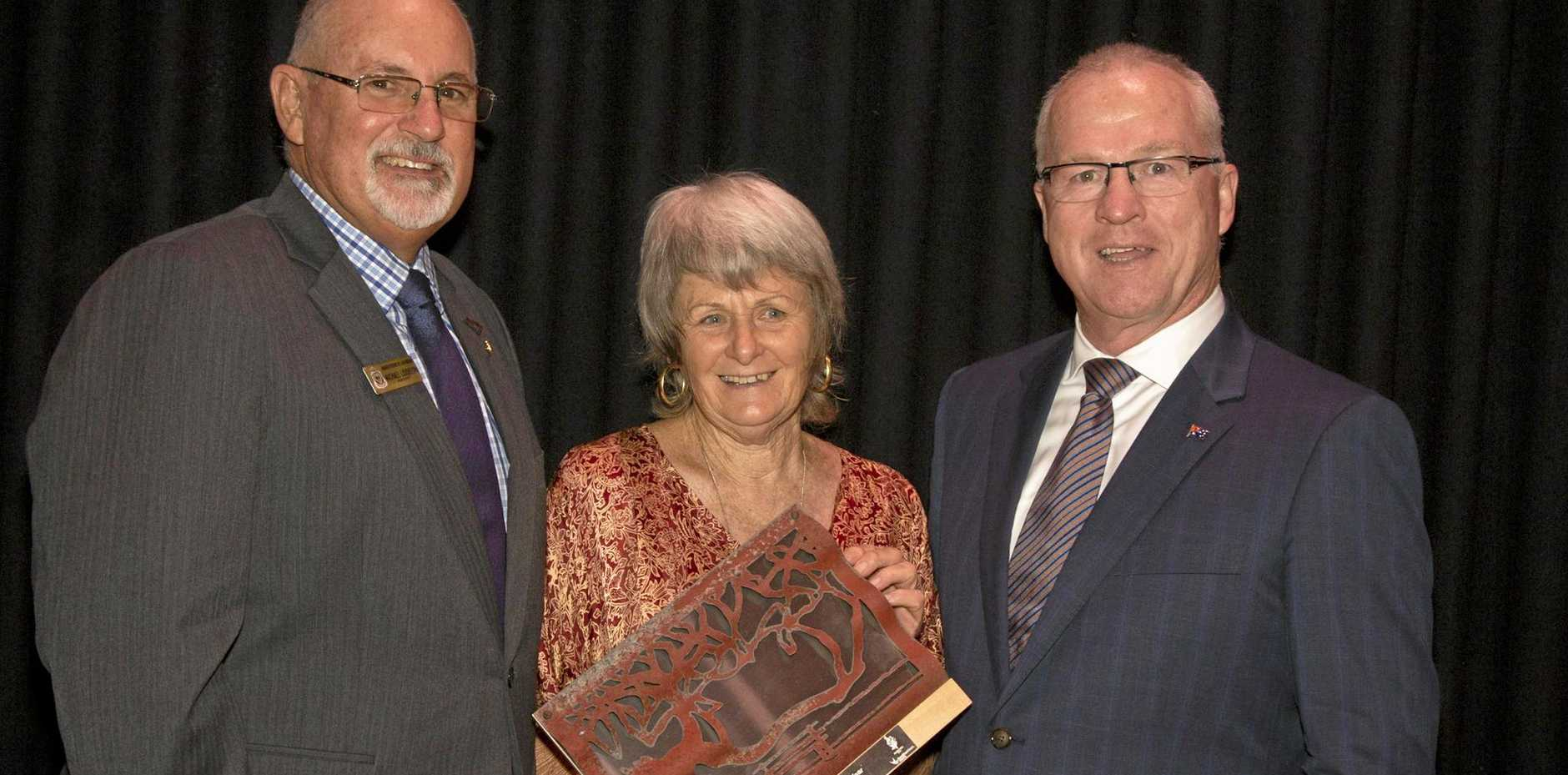 Senior Citizen for 2016 Anne Wensley with Michael Liddelow, president of Maroochy RSL (left) and Mayor Jamieson.