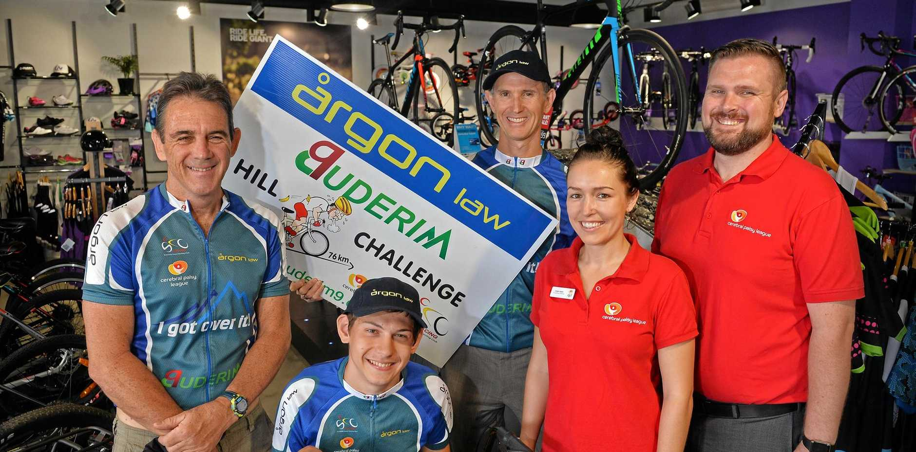 Dave Wighton, Josh Paix, John Gallagher, Aileen Adam and Pete Evans ready for the Buderim 9.