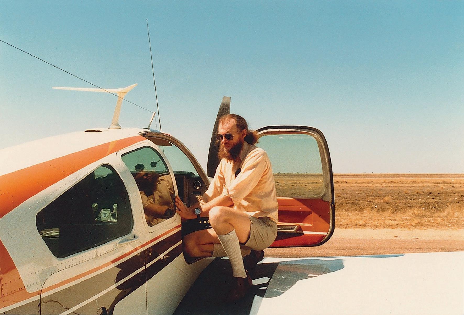 Flying artist Merv Moriarty in the 1970s.