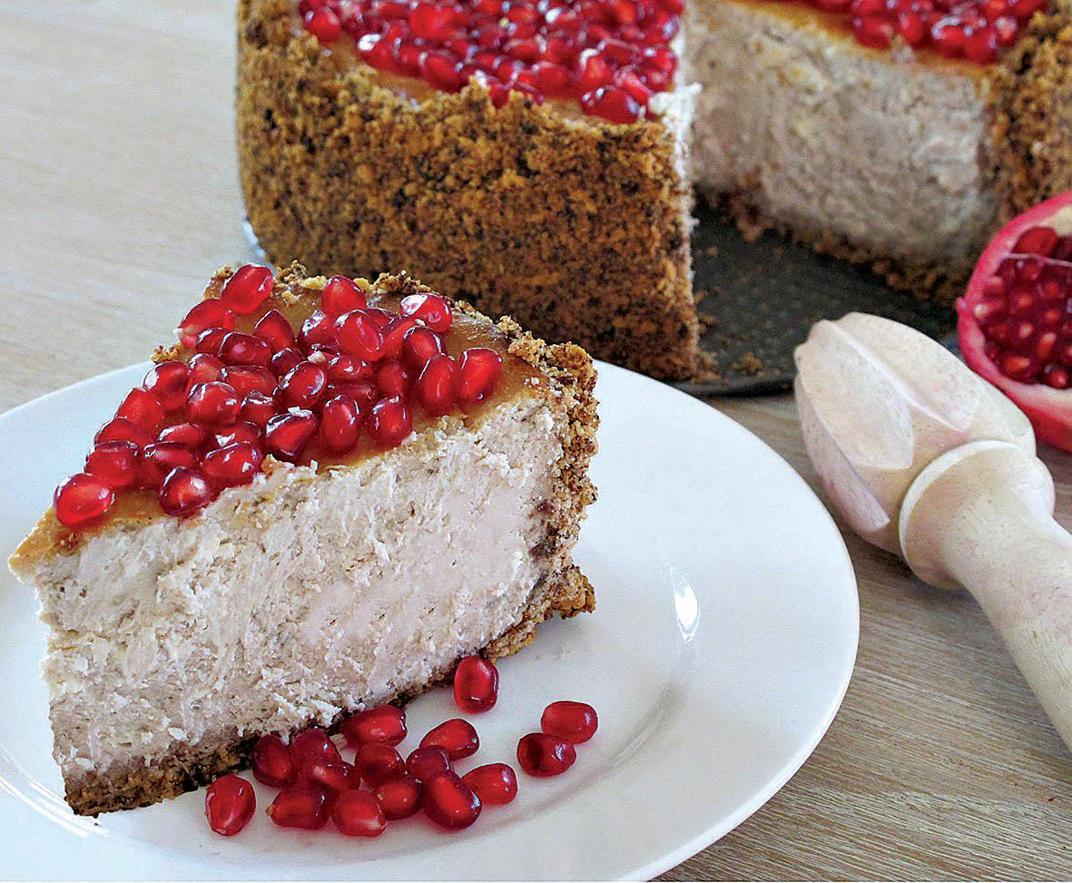Ruby-like arils of the exotic pomegranate flavour this cheesecake.