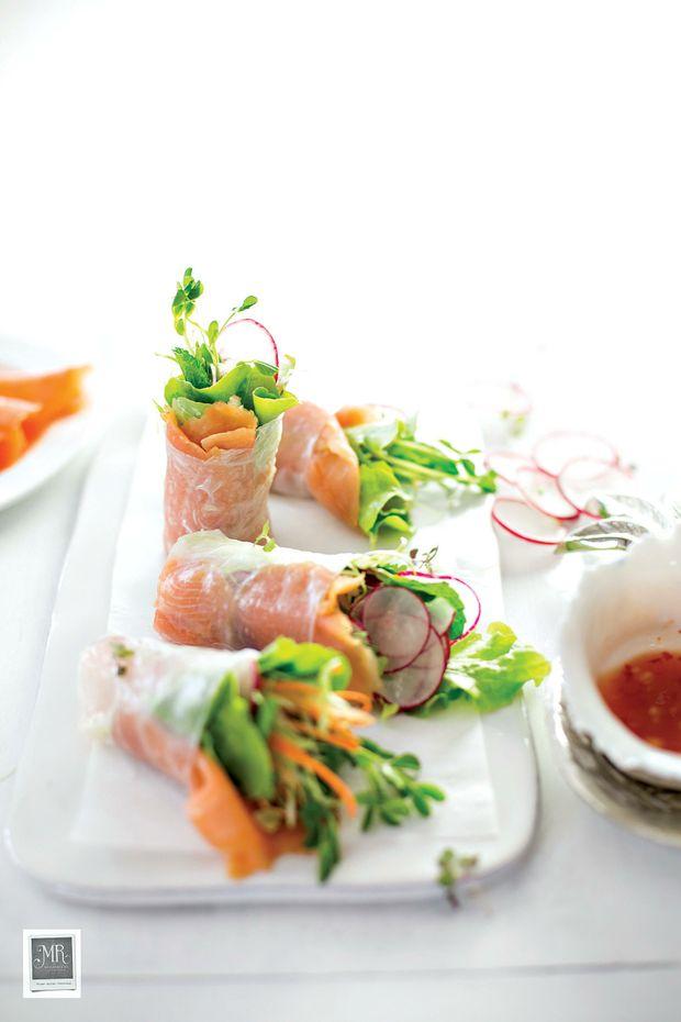 Smoked salmon rice paper rolls.