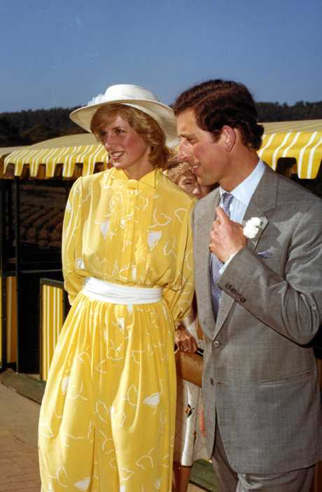 Prince Charles and Princess Diana ready to board the train for a ride through the fruit section of Sunshine Plantation, Woombye, April 1983.