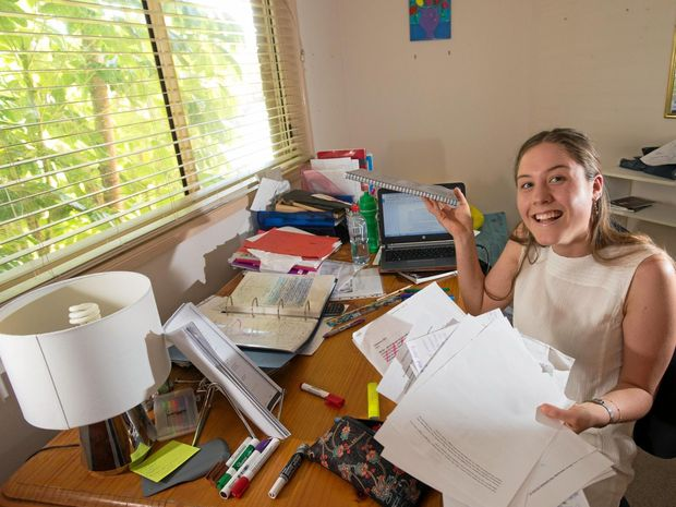 HITTING THE BOOKS: Ellie Hewitt is studying hard in the lead-up to the first HSC exam on Thursday.