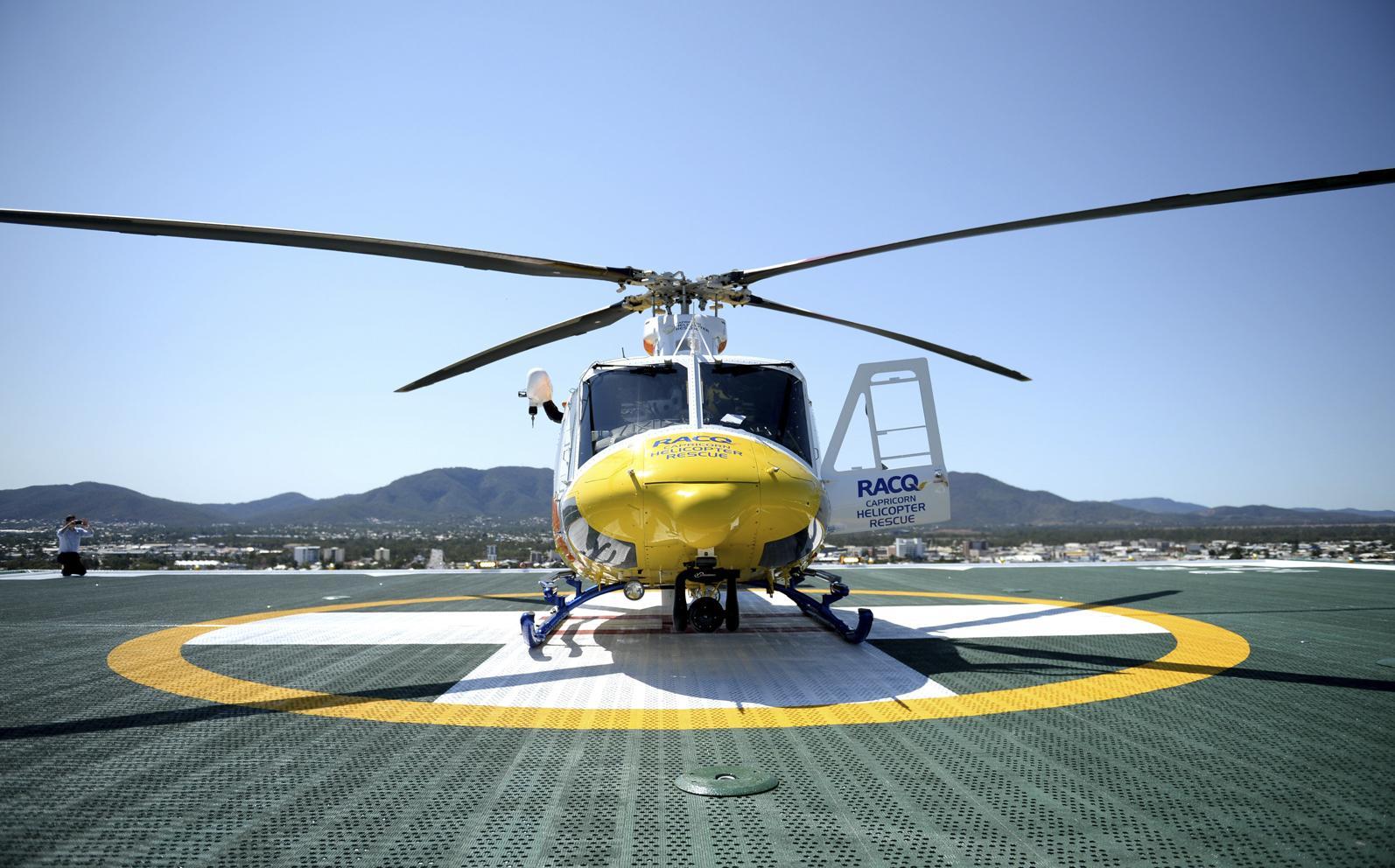 RACQ Capricorn Helicopter Rescue landing on the new Rockhampton Hospital helipad.