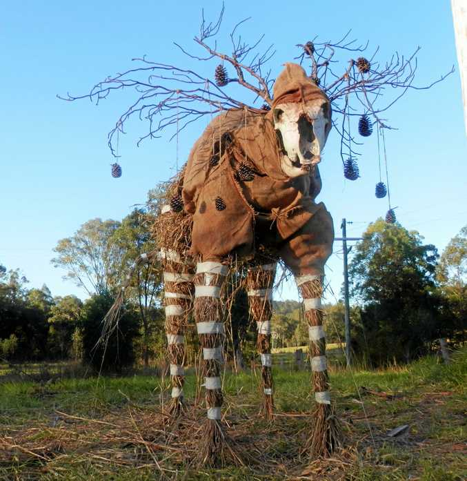 SCARY: The 2015 Mary Valley Scarecrow Festival artistic winner The Dear Crow Glen II by Crystal Aylmer will be hard to beat this year.