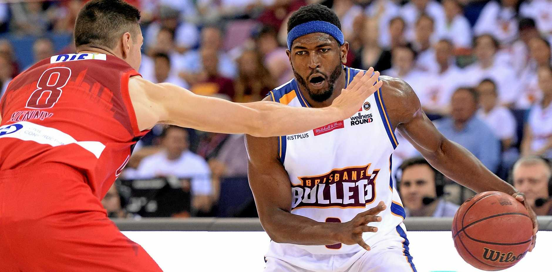 Brisbane's Jermaine Beal looks to take on the defence during the round one NBL match between the Bullets and the Wildcats at the Brisbane Entertainment Centre.