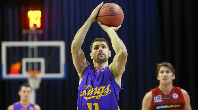 Sydney's Kevin Lisch shoots during the Australian Basketball Challenge match between the Kings and the Perth Wildcats at the Brisbane Convention and Exhibition Centre in September.