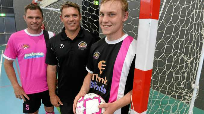 FUTSAL LEAGUE: Laurie Stephenson, Lucas Read and Cohen Read. Bundaberg Wildcats will be making its debut in the South East Queensland Futsal League.