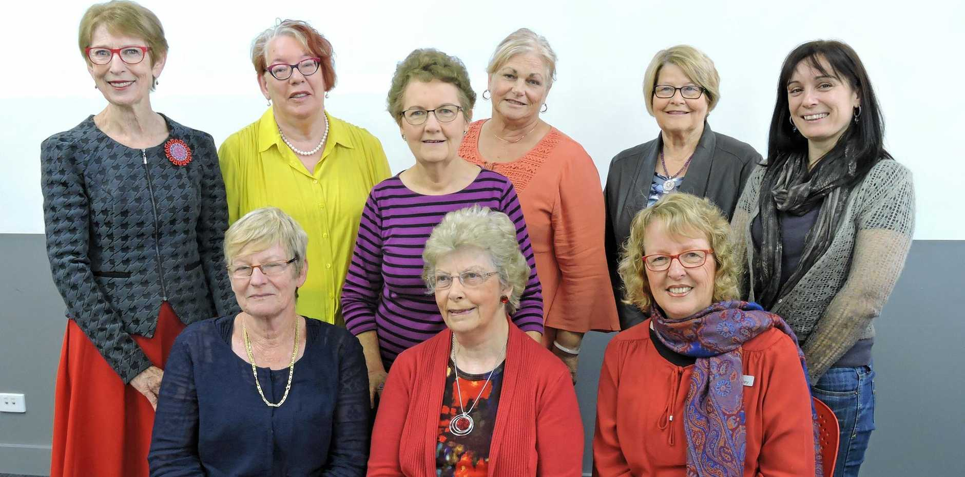 The Graduate Women Queensland (Sunshine Coast) committee is: (back row) Yvonne Koster, Margaret Welche, Bev Hinz (President), Judy Allinson, Jan Allan, Davinia Nieper, (front row) Joy Ryan, Bernice Anderson and Sylvia Hovey.