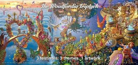 2015 Woodford Folk Festival triptych which reveals the story behind the festival theme over time.