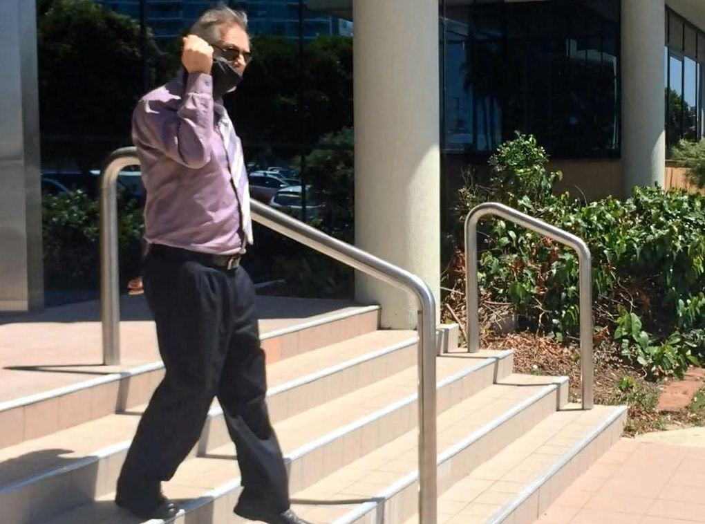 Bradley Thomas Hills, 58, leaves Maroochydore Court House after pleading guilty to using a hydroponic system to grow marijuana at his home.