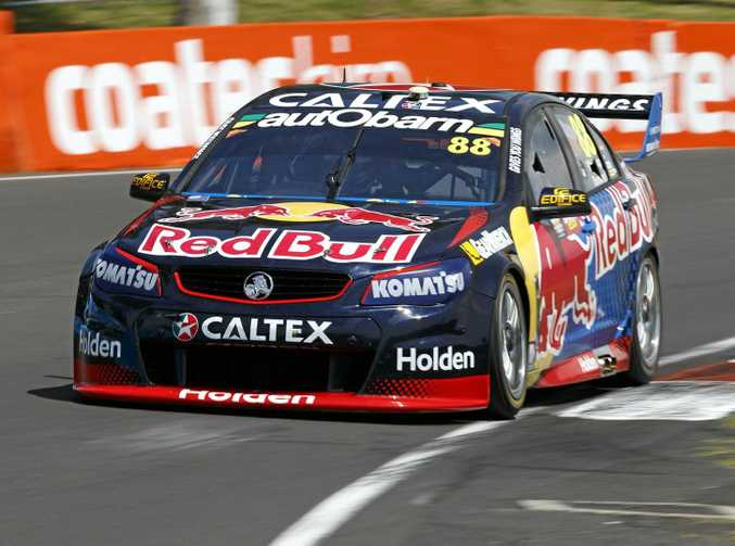 Jamie Whincup's Red Bull Racing Australia car during a practice session for the Bathurst 1000 at Mount Panorama.