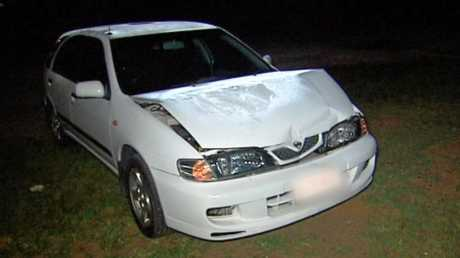 SMASHED: The car allegedly used to ram a Gatton woman's vehicle which started a terrifying ordeal Thursday night.