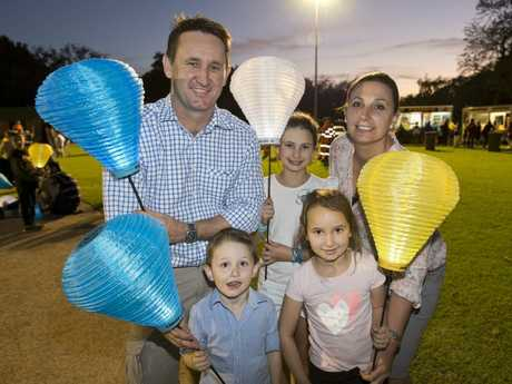 Walking as a family are Shawn and Clair Fletcher with children Thomas, Grace (centre) and Paige at Light the Night Toowoomba.