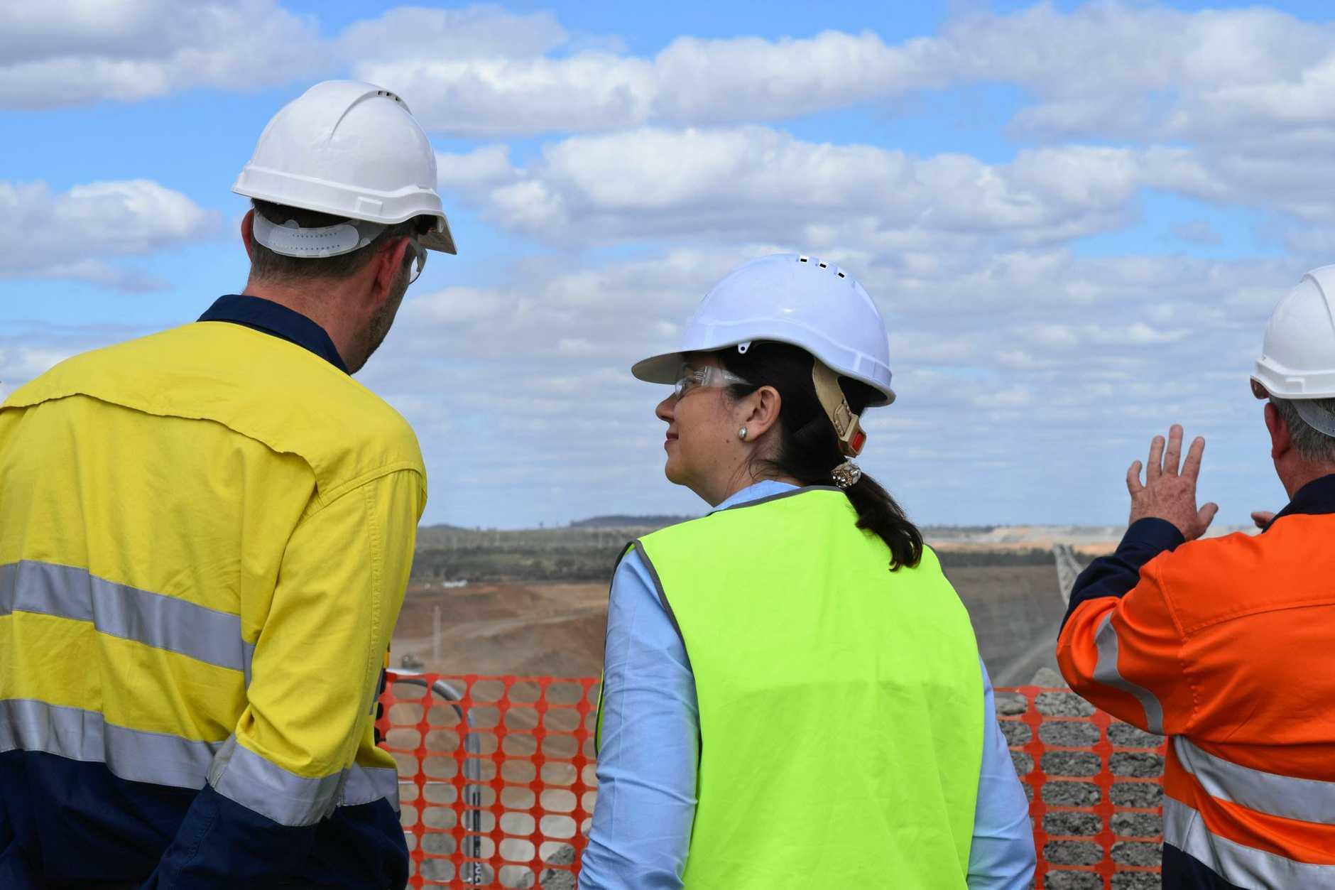 Managing director Nick Jorss talks to Premier Annastacia Palaszczuk at the reopening of the Isaac Plains coal mine in May.