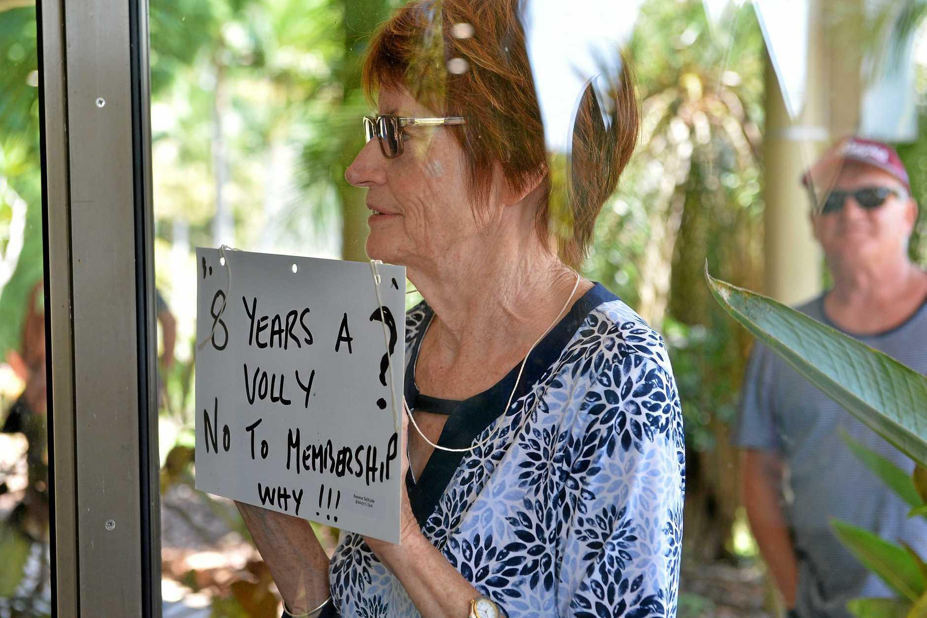 Sunshine Coast Hospice General Meeting. Volunteers were refused membership and cannot vote.