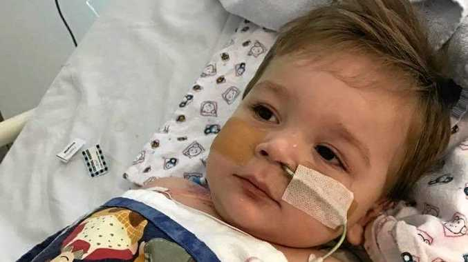 AWAKE: 15-month-old Eli Fapani was diagnosed with meningococcal last week, but his condition has since improved and he is now out of the ICU.